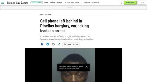 Cell phone left behind in Pinellas burglary, carjacking leads to arrest Screenshot