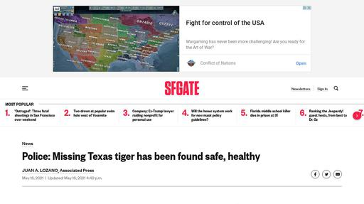 Police: Missing Texas tiger has been found safe, healthy Screenshot
