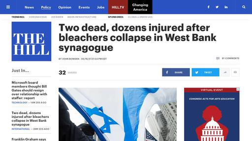 Two dead, dozens injured after bleachers collapse in West Bank synagogue Screenshot