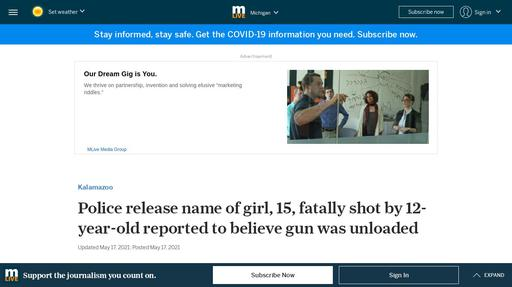Police release name of girl, 15, fatally shot by 12-year-old reported to believe gun was ... Screenshot