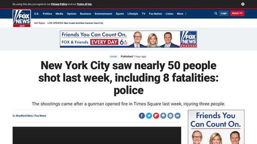 New York City saw nearly 50 people shot last week, including 8 fatalities: police Screenshot