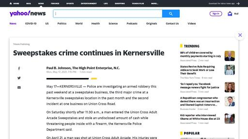 Sweepstakes crime continues in Kernersville Screenshot