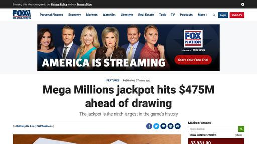 Mega Millions jackpot hits $475M ahead of drawing Screenshot