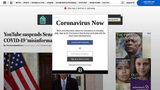 YouTube suspends Senator Ron Johnson for COVID-19 'misinformation' Screenshot