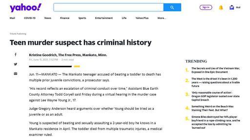 Teen murder suspect has criminal history Screenshot