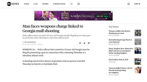 Man faces weapons charge linked to Georgia mall shooting Screenshot
