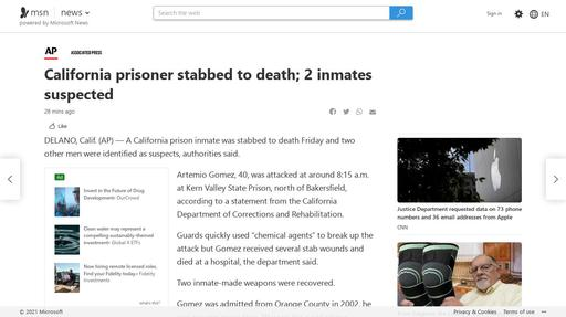 California prisoner stabbed to death; 2 inmates suspected Screenshot