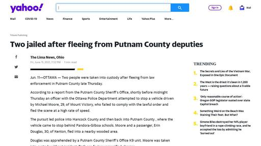 Two jailed after fleeing from Putnam County deputies Screenshot