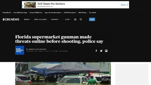 Florida supermarket gunman made threats online before shooting, police say Screenshot