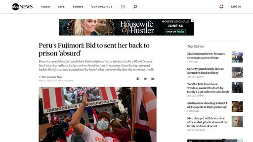 Peru's Fujimori: Bid to sent her back to prison 'absurd' Screenshot
