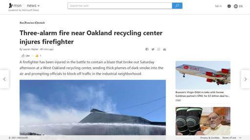 Three-alarm fire near Oakland recycling center injures firefighter Screenshot