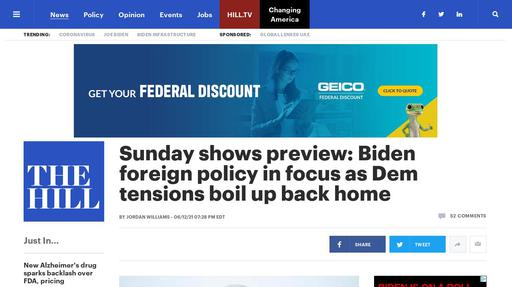 Sunday shows preview: Biden foreign policy in focus as Dem tensions boil up back home Screenshot