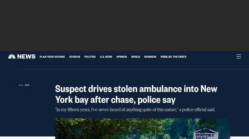 Suspect drives stolen ambulance into New York bay after chase, police say Screenshot