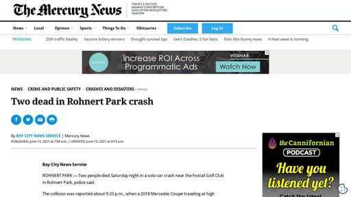Two dead in Rhonert Park crash Screenshot