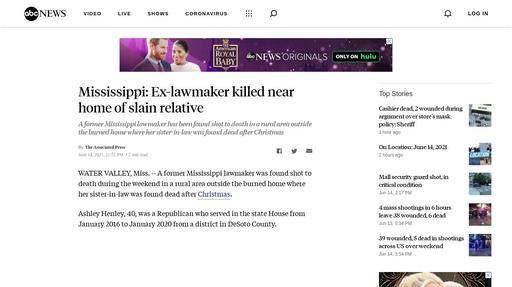 Mississippi: Ex-lawmaker killed near home of slain relative Screenshot