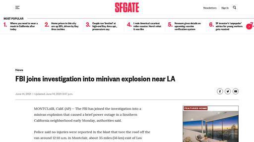 FBI joins investigation into minivan explosion near LA Screenshot