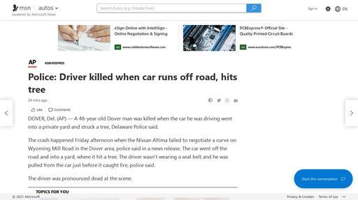 Police: Driver killed when car runs off road, hits tree Screenshot