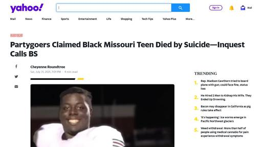 Partygoers Claimed Black Missouri Teen Died by Suicide—Inquest Calls BS Screenshot