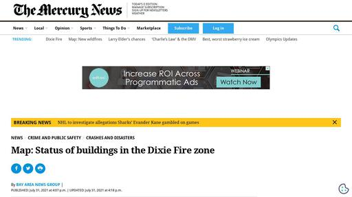 Map: Status of buildings in the Dixie Fire zone Screenshot