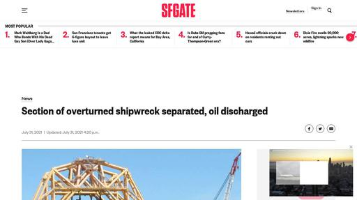 Section of overturned shipwreck separated, oil discharged Screenshot