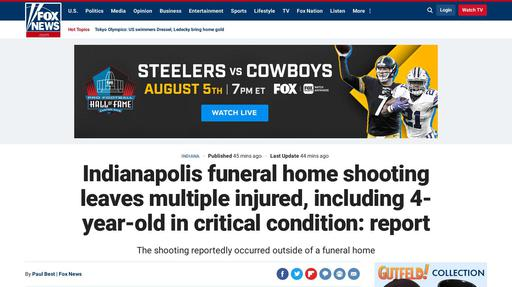 Indianapolis funeral home shooting leaves multiple injured, including 4-year-old in critical condition: report Screenshot