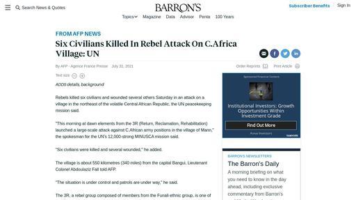 Six Civilians Killed In Rebel Attack On C.Africa Village: UN Screenshot