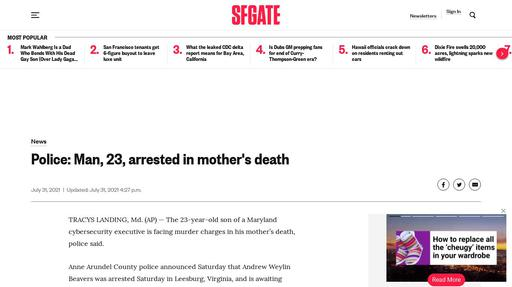 Police: Man, 23, arrested in mother's death Screenshot