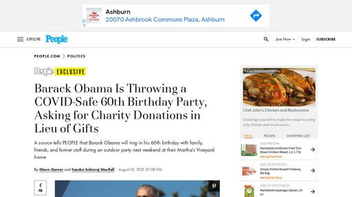 Barack Obama Is Throwing a COVID-Safe 60th Birthday Party, Asking for Charity Donations in Lieu of Gifts Screenshot
