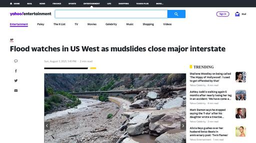 Flood watches in US West as mudslides close major interstate Screenshot