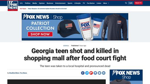 Georgia teen shot and killed in shopping mall after food court fight Screenshot