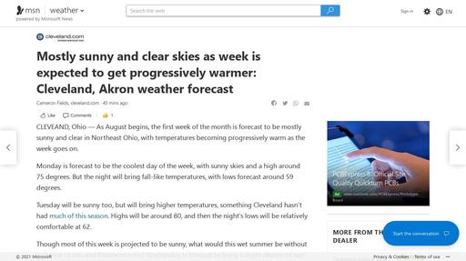 Mostly sunny and clear skies as week is expected to get progressively warmer: Cleveland, Akron weather forecast Screenshot