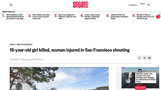 16-year-old girl killed, woman injured in San Francisco shooting Screenshot