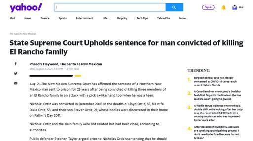 State Supreme Court Upholds sentence for man convicted of killing El Rancho family Screenshot