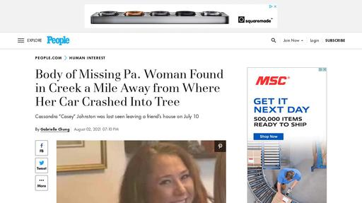 Body of Missing Pa. Woman Found in Creek a Mile Away from Where Her Car Crashed Into Tree Screenshot
