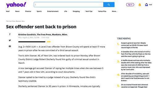 Sex offender sent back to prison Screenshot