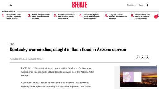 Kentucky woman dies, caught in flash flood in Arizona canyon Screenshot