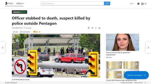 Officer stabbed to death, suspect killed by police outside Pentagon Screenshot