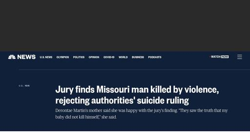 Jury finds Missouri man killed by violence, rejecting authorities' suicide ruling Screenshot