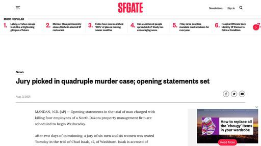 Jury picked in quadruple murder case; opening statements set Screenshot