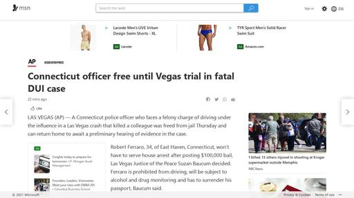 Connecticut officer free until Vegas trial in fatal DUI case Screenshot
