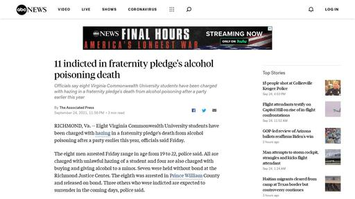 11 indicted in fraternity pledge's alcohol poisoning death Screenshot