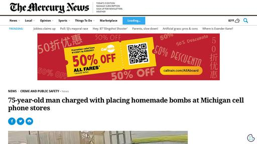 75-year-old man charged with placing homemade bombs at Michigan cell phone stores Screenshot