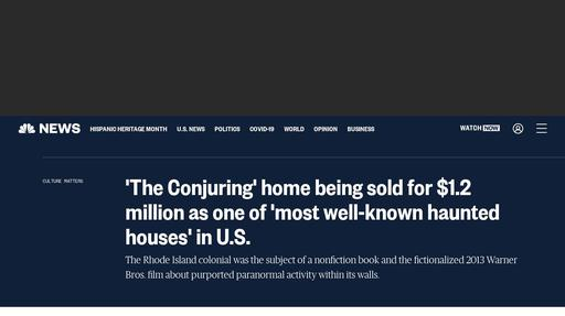 'The Conjuring' home being sold for $1.2 million as one of 'most well-known haunted houses' in U.S. Screenshot