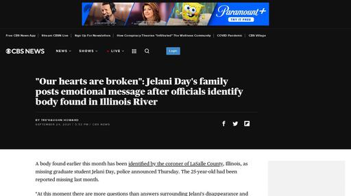 """""""Our hearts are broken"""": Jelani Day's family posts emotional message after officials identify body found in Illinois River Screenshot"""