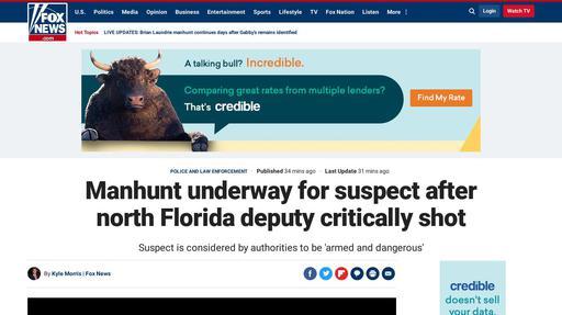 Manhunt underway for suspect after north Florida deputy critically shot Screenshot