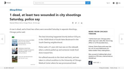 1 dead, at least two wounded in city shootings Saturday, police say Screenshot