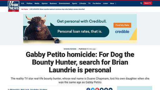 Gabby Petito homicide: For Dog the Bounty Hunter, search for Brian Laundrie is personal Screenshot