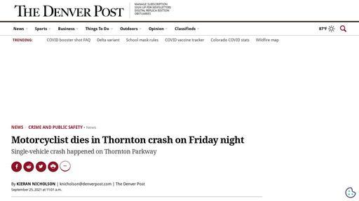 Motorcyclist dies in Thornton crash on Friday night Screenshot