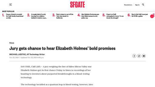 Jury gets chance to hear Elizabeth Holmes' bold promises Screenshot