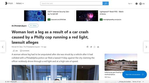 Woman lost a leg as a result of a car crash caused by a Philly cop running a red light, lawsuit alleges Screenshot